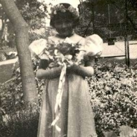 Barbara as a bridesmaid, age six