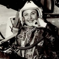 Intrepid Barbara Taylor at the helm of an Airforce jet-fighter