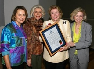 Barbara receives her proclamation at the Dallas Women's Museum, making this Barbara Taylor Bradford Day