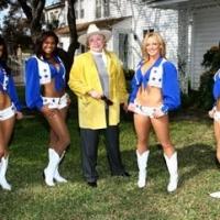 Barbara Taylor Bradford and the Dallas Cowboys Cheerleaders outside the Lupton family home in Dallas, Texas