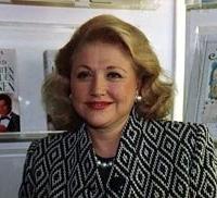 Barbara Taylor Bradford promoting a book at the 1991 London Book Fair