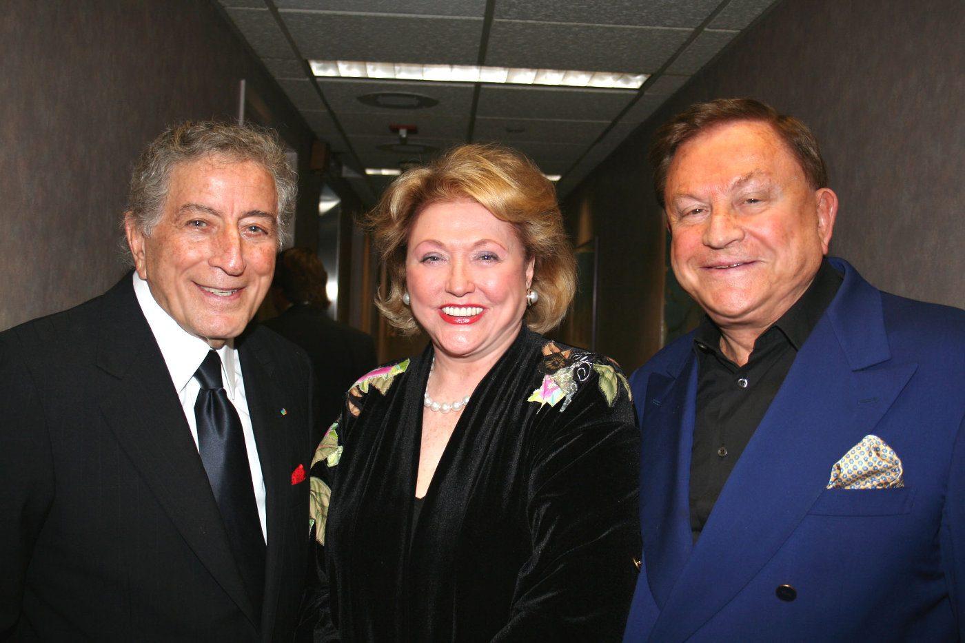Barbara Taylor Bradford, Robert Bradford pictured with Tony Bennett