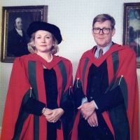 Barbara Taylor Bradford and playwright Alan Bennett pictured at Leeds University, 1990 (in colour)