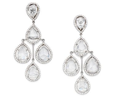 A Pair of Rose-Cut Diamond Chandelier Earrings by David Morris