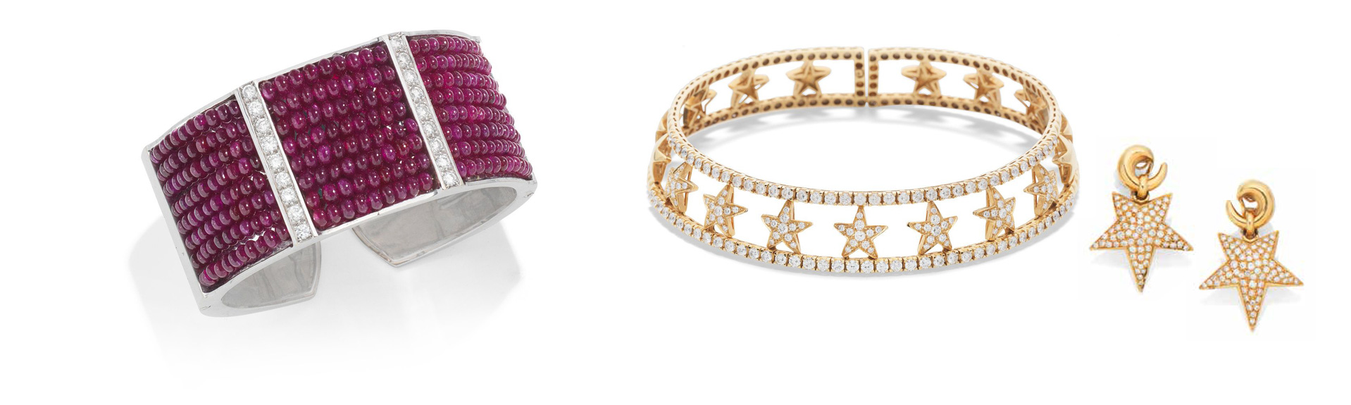 A Ruby and Diamond Cuff, and a Diamond Star Collar with a Pair of Pave Set Diamond Earclips