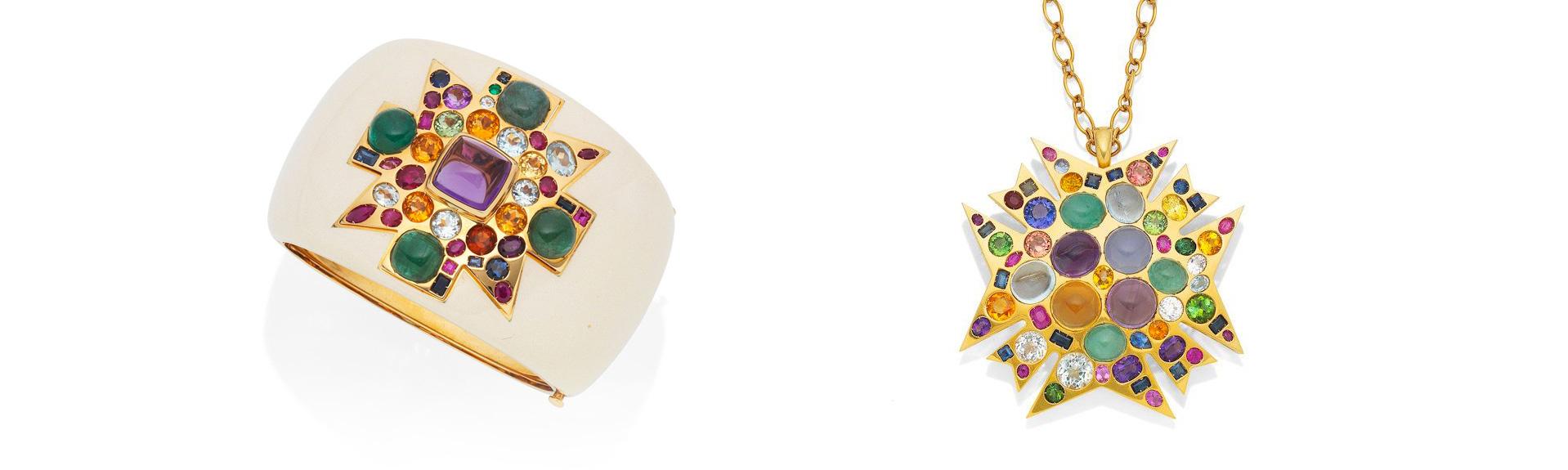 A White Enamel and Gem Set Cuff Bangle and a multi gem set cross pendant/Necklace by Verdura