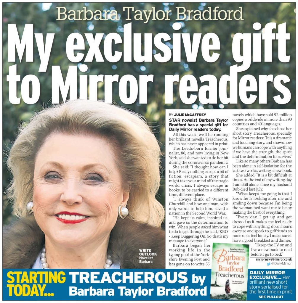 Daily Mirror Article - Treacherous by Barbara Taylor Bradford Gift
