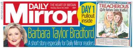 Daily Mirror Headline - Treacherous by Barbara Taylor Bradford Gift